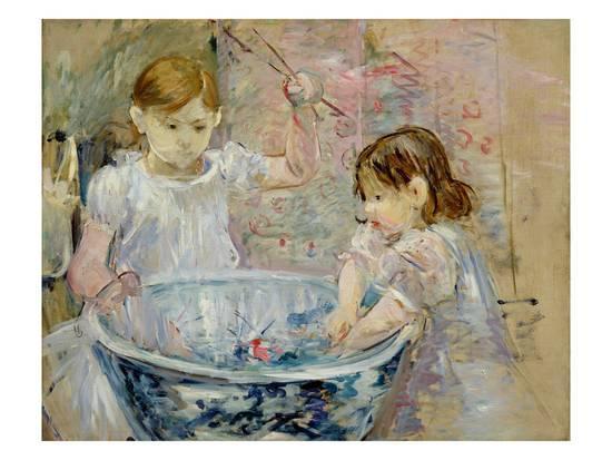 Berthe Morisot - Bambini che giocano, 1886, dipinto olio su tela